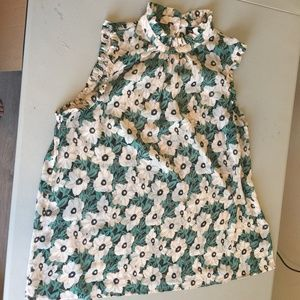 Who What Wear Green Floral Ruffle Blouse